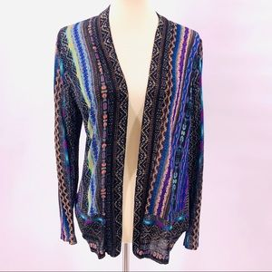 Chico's Printed Open Front Lightweight Cardigan